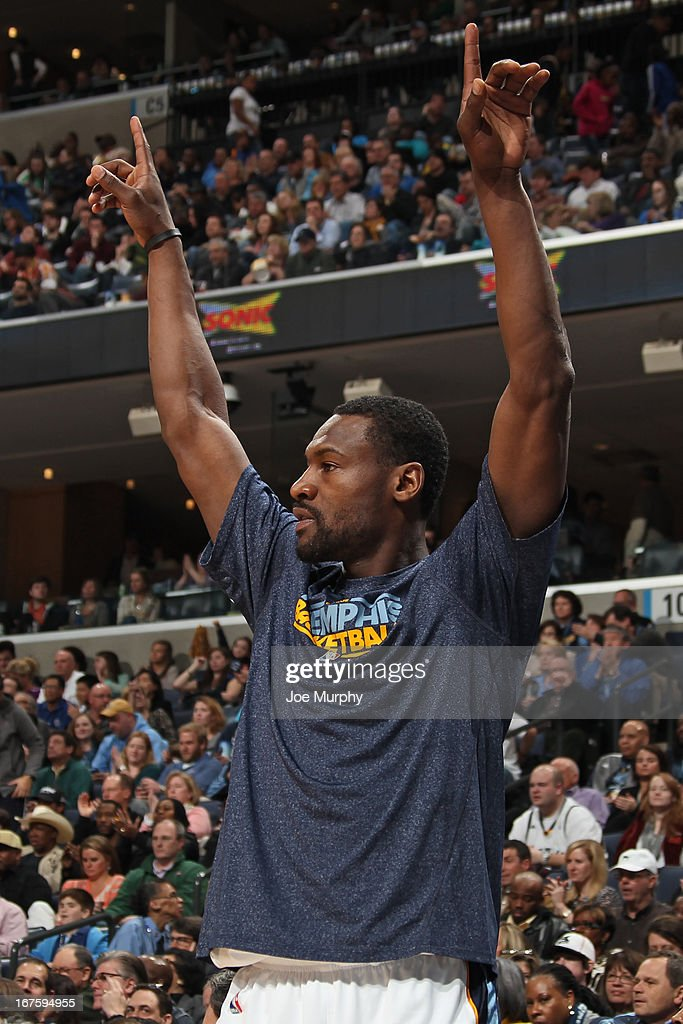 <a gi-track='captionPersonalityLinkClicked' href=/galleries/search?phrase=Tony+Allen+-+Basketball+Player&family=editorial&specificpeople=201665 ng-click='$event.stopPropagation()'>Tony Allen</a> #9 of the Memphis Grizzlies celebrates during the game against the Houston Rockets on March 29, 2013 at FedExForum in Memphis, Tennessee.