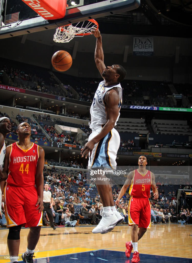 <a gi-track='captionPersonalityLinkClicked' href=/galleries/search?phrase=Tony+Allen+-+Basketball+Player&family=editorial&specificpeople=201665 ng-click='$event.stopPropagation()'>Tony Allen</a> #9 of the Memphis Grizzlies dunks against <a gi-track='captionPersonalityLinkClicked' href=/galleries/search?phrase=Chuck+Hayes&family=editorial&specificpeople=206129 ng-click='$event.stopPropagation()'>Chuck Hayes</a> #44 of the Houston Rockets on January 21, 2011 at FedExForum in Memphis, Tennessee.