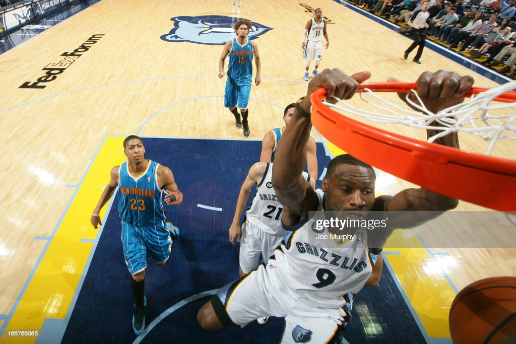 <a gi-track='captionPersonalityLinkClicked' href=/galleries/search?phrase=Tony+Allen+-+Basketball+Player&family=editorial&specificpeople=201665 ng-click='$event.stopPropagation()'>Tony Allen</a> #9 of the Memphis Grizzlies dunks against the New Orleans Hornets on March 9, 2013 at FedExForum in Memphis, Tennessee.