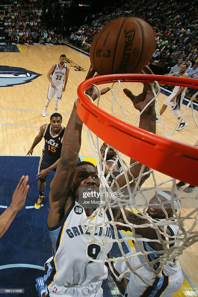 <a gi-track='captionPersonalityLinkClicked' href=/galleries/search?phrase=Tony+Allen+-+Basketball+Player&family=editorial&specificpeople=201665 ng-click='$event.stopPropagation()'>Tony Allen</a> #9 of the Memphis Grizzlies dunks against the Utah Jazz on April 17, 2013 at FedExForum in Memphis, Tennessee.