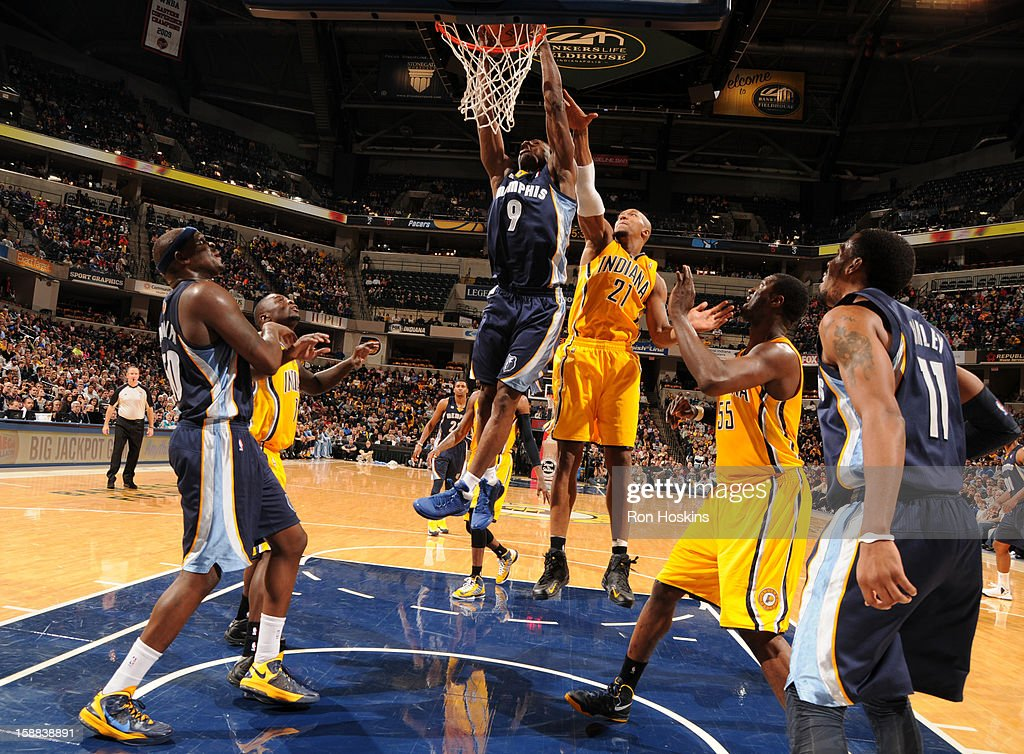 <a gi-track='captionPersonalityLinkClicked' href=/galleries/search?phrase=Tony+Allen+-+Basketball+Player&family=editorial&specificpeople=201665 ng-click='$event.stopPropagation()'>Tony Allen</a> #9 of the Memphis Grizzlies dunks the ball against the Indiana Pacers on December 31, 2012 at Bankers Life Fieldhouse in Indianapolis, Indiana.