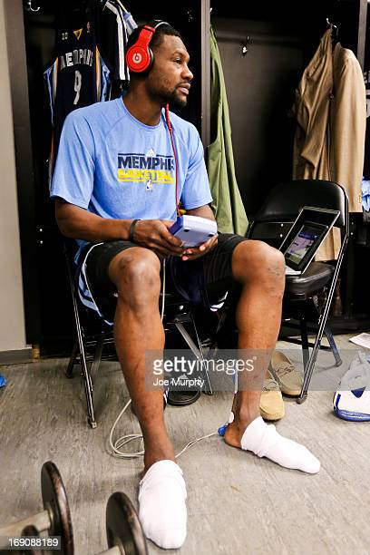Tony Allen of the Memphis Grizzlies gets ready in the locker room before playing against the San Antonio Spurs in Game One of the Western Conference...