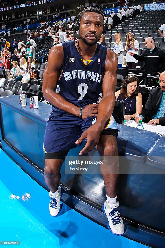 <a gi-track='captionPersonalityLinkClicked' href=/galleries/search?phrase=Tony+Allen&family=editorial&specificpeople=201665 ng-click='$event.stopPropagation()'>Tony Allen</a> #9 of the Memphis Grizzlies gives an interview following his team's series victory against the Oklahoma City Thunder in Game Five of the Western Conference Semifinals during the 2013 NBA Playoffs on May 15, 2013 at the Chesapeake Energy Arena in Oklahoma City, Oklahoma.
