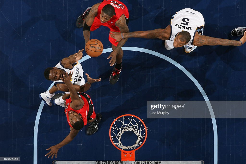 <a gi-track='captionPersonalityLinkClicked' href=/galleries/search?phrase=Tony+Allen+-+Basketball+Player&family=editorial&specificpeople=201665 ng-click='$event.stopPropagation()'>Tony Allen</a> #9 of the Memphis Grizzlies goes up for a rebound against the Toronto Raptors on November 28, 2012 at FedExForum in Memphis, Tennessee.