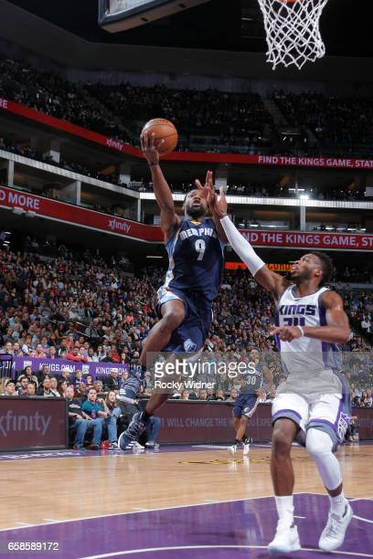 Tony Allen of the Memphis Grizzlies goes up for a shot during a game against the Sacramento Kings on March 27 2017 at Golden 1 Center in Sacramento...