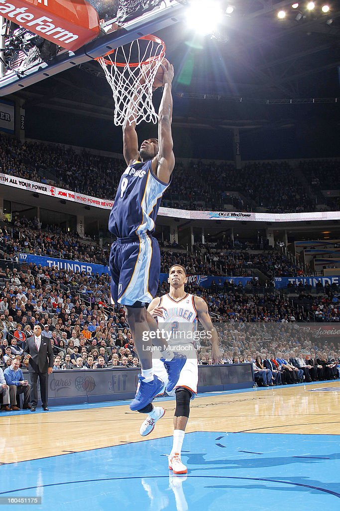 Tony Allen #9 of the Memphis Grizzlies goes up for the easy dunk against the Oklahoma City Thunder during an NBA game on January 31, 2013 at the Chesapeake Energy Arena in Oklahoma City, Oklahoma.
