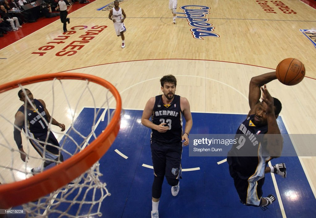 Tony Allen of the Memphis Grizzlies goes up to dunk the ball in the first half while taking on the Los Angeles Clippers in Game Six of the Western...