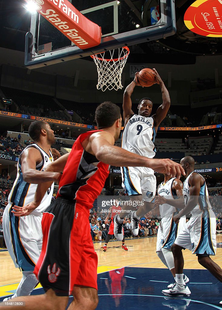 <a gi-track='captionPersonalityLinkClicked' href=/galleries/search?phrase=Tony+Allen+-+Basketball+Player&family=editorial&specificpeople=201665 ng-click='$event.stopPropagation()'>Tony Allen</a> #9 of the Memphis Grizzlies grabs a rebound against the Toronto Raptors on October 26, 2012 at FedExForum in Memphis, Tennessee.