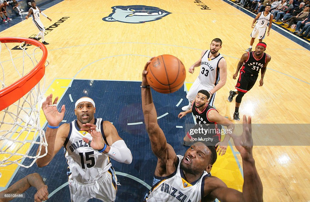 Tony Allen #9 of the Memphis Grizzlies grabs a rebound against the Toronto Raptors on January 25, 2017 at FedExForum in Memphis, Tennessee.