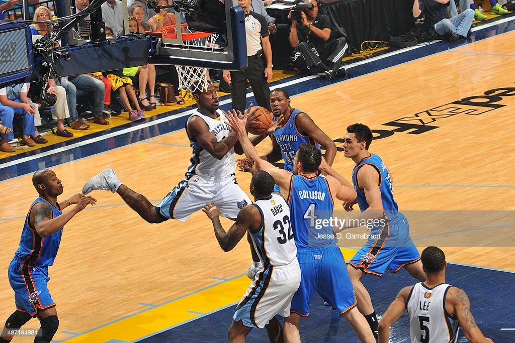 Tony Allen #9 of the Memphis Grizzlies grabs the rebound against the Oklahoma City Thunder in Game Four of the Western Conference Quarterfinals during the 2014 NBA Playoffs on April 26, 2014 at FedExForum in Memphis, Tennessee.