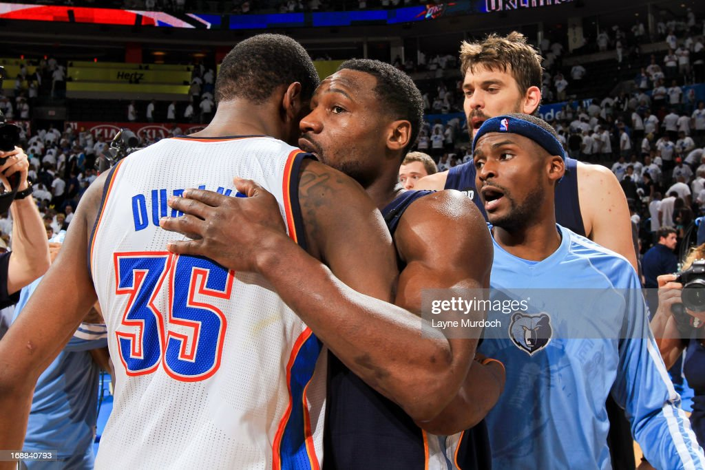 Tony Allen #9 of the Memphis Grizzlies greets Kevin Durant #35 of the Oklahoma City Thunder following his team's series win against the Thunder in Game Five of the Western Conference Semifinals during the 2013 NBA Playoffs on May 15, 2013 at the Chesapeake Energy Arena in Oklahoma City, Oklahoma.