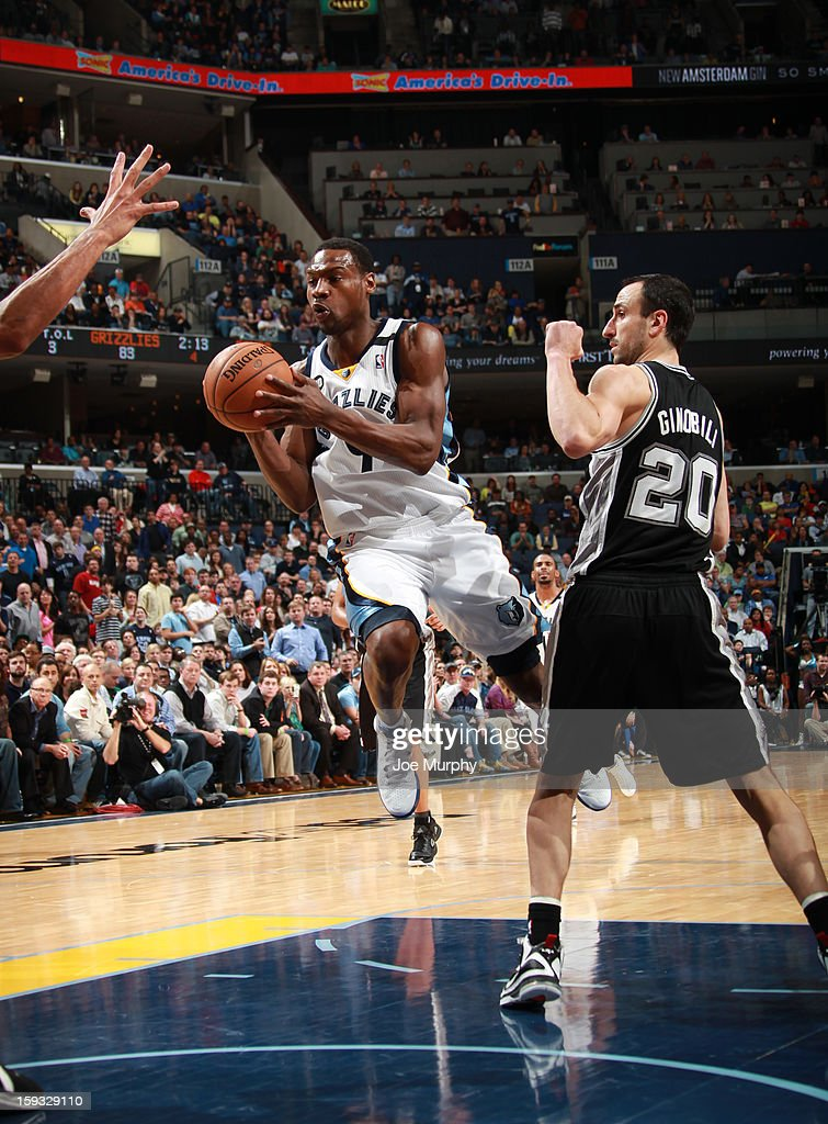 Tony Allen #9 of the Memphis Grizzlies passes the ball against Manu Ginobili #20 of the San Antonio Spurs on January 11, 2013 at FedExForum in Memphis, Tennessee.