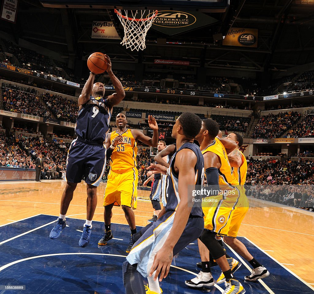 <a gi-track='captionPersonalityLinkClicked' href=/galleries/search?phrase=Tony+Allen+-+Basketball+Player&family=editorial&specificpeople=201665 ng-click='$event.stopPropagation()'>Tony Allen</a> #9 of the Memphis Grizzlies puts up a shot against the Indiana Pacers on December 31, 2012 at Bankers Life Fieldhouse in Indianapolis, Indiana.