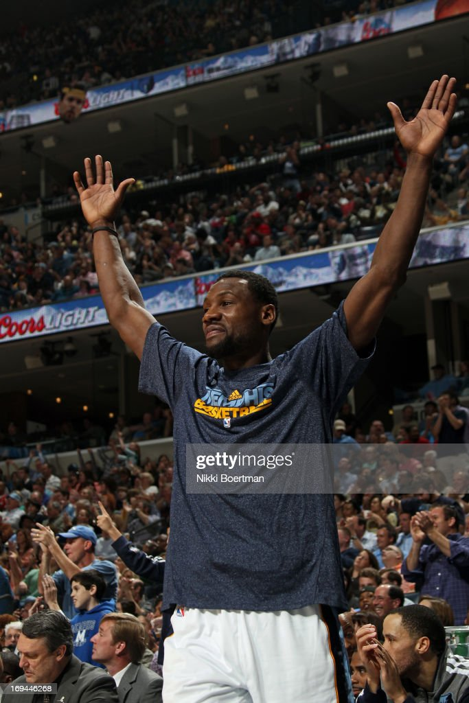 <a gi-track='captionPersonalityLinkClicked' href=/galleries/search?phrase=Tony+Allen+-+Basketball+Player&family=editorial&specificpeople=201665 ng-click='$event.stopPropagation()'>Tony Allen</a> #9 of the Memphis Grizzlies reacts after a play against the Los Angeles Clippers on April 13, 2013 at FedExForum in Memphis, Tennessee.