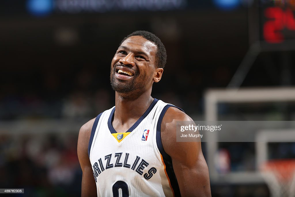 <a gi-track='captionPersonalityLinkClicked' href=/galleries/search?phrase=Tony+Allen+-+Basketball+Player&family=editorial&specificpeople=201665 ng-click='$event.stopPropagation()'>Tony Allen</a> #9 of the Memphis Grizzlies reacts during a game against the Denver Nuggets on December 28, 2013 at FedExForum in Memphis, Tennessee.
