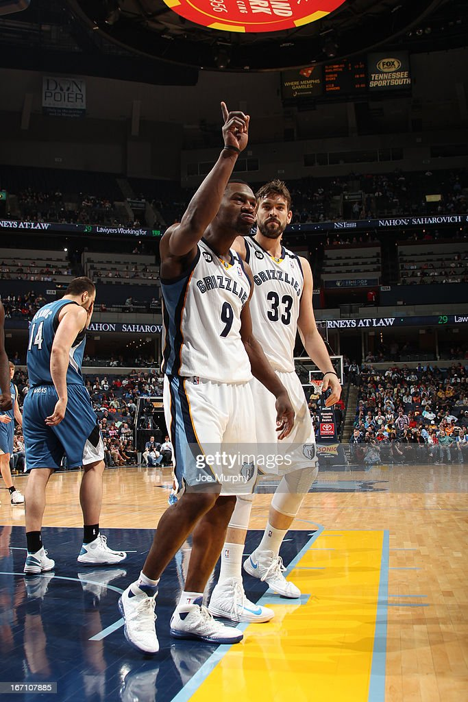 <a gi-track='captionPersonalityLinkClicked' href=/galleries/search?phrase=Tony+Allen+-+Basketball+Player&family=editorial&specificpeople=201665 ng-click='$event.stopPropagation()'>Tony Allen</a> #9 of the Memphis Grizzlies reacts during the game against the Minnesota Timberwolves on March 18, 2013 at FedExForum in Memphis, Tennessee.