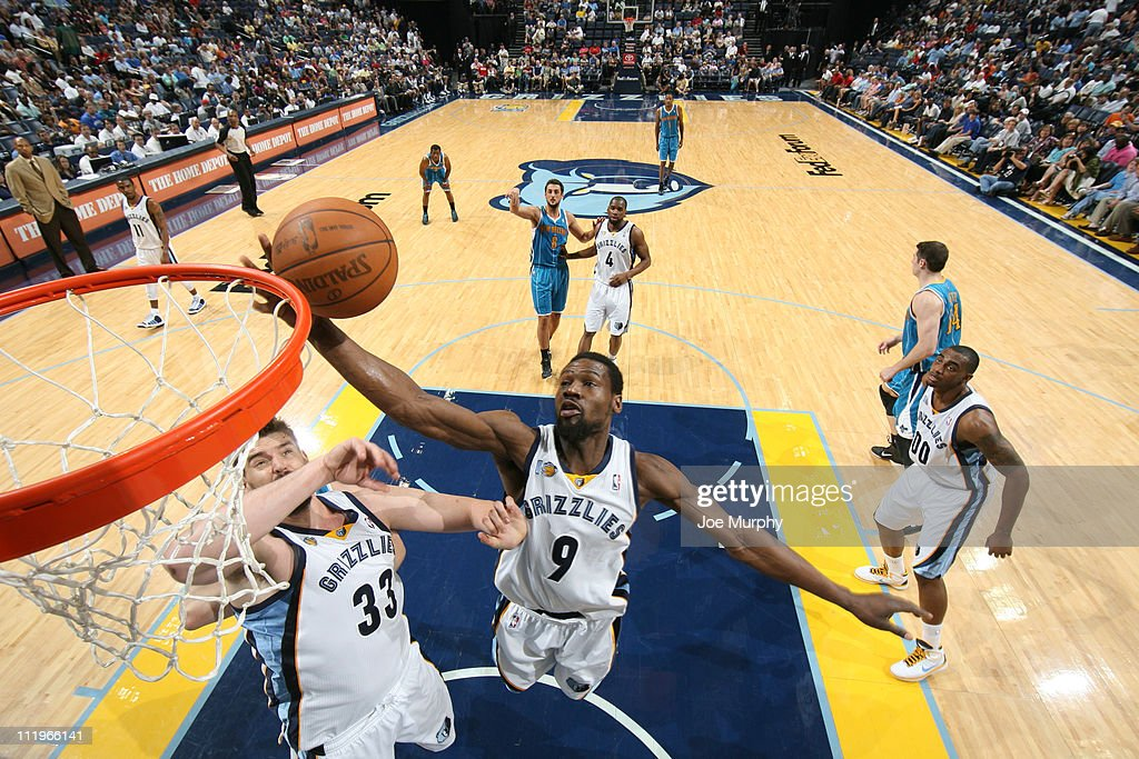 <a gi-track='captionPersonalityLinkClicked' href=/galleries/search?phrase=Tony+Allen+-+Basketball+Player&family=editorial&specificpeople=201665 ng-click='$event.stopPropagation()'>Tony Allen</a> #9 of the Memphis Grizzlies rebounds against the New Orleans Hornets during the game on April 10, 2011 at FedExForum in Memphis, Tennessee.