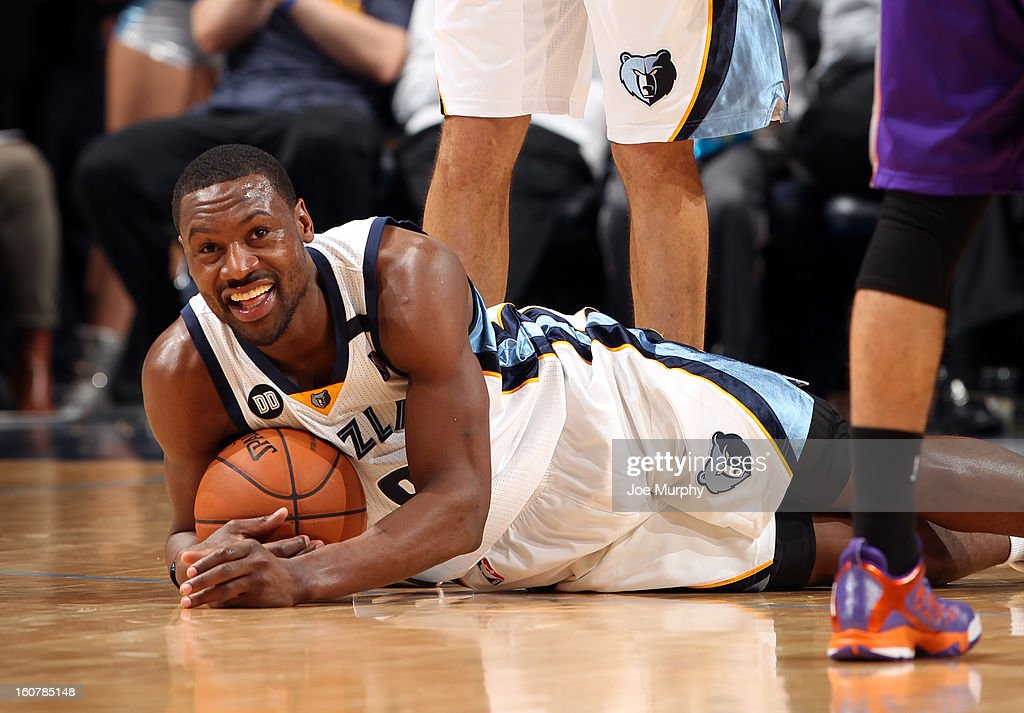 Tony Allen #9 of the Memphis Grizzlies recovers a loose ball against the Phoenix Suns on February 5, 2013 at FedExForum in Memphis, Tennessee.