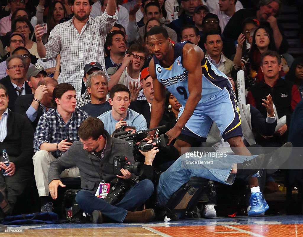 Tony Allen #9 of the Memphis Grizzlies runs into a TV cameraman in the game against the New York Knicks at Madison Square Garden on March 27, 2013 in New York City. The Knicks defeated the Grizzlies 108-101.