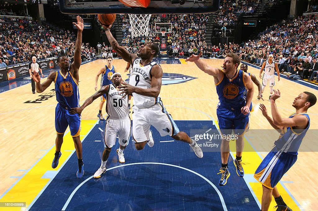 <a gi-track='captionPersonalityLinkClicked' href=/galleries/search?phrase=Tony+Allen+-+Basketball+Player&family=editorial&specificpeople=201665 ng-click='$event.stopPropagation()'>Tony Allen</a> #9 of the Memphis Grizzlies shoots a layup against <a gi-track='captionPersonalityLinkClicked' href=/galleries/search?phrase=Harrison+Barnes&family=editorial&specificpeople=6893973 ng-click='$event.stopPropagation()'>Harrison Barnes</a> #40 and David Lee #10 of the Golden State Warriors on February 8, 2013 at FedExForum in Memphis, Tennessee.