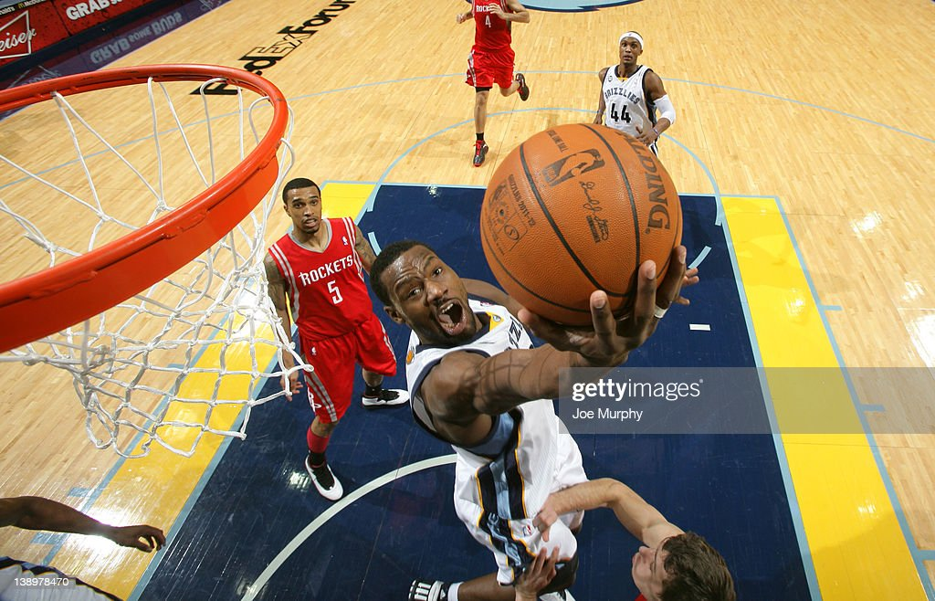 <a gi-track='captionPersonalityLinkClicked' href=/galleries/search?phrase=Tony+Allen+-+Basketball+Player&family=editorial&specificpeople=201665 ng-click='$event.stopPropagation()'>Tony Allen</a> #9 of the Memphis Grizzlies shoots a layup against the Houston Rockets on February 14, 2012 at FedExForum in Memphis, Tennessee.