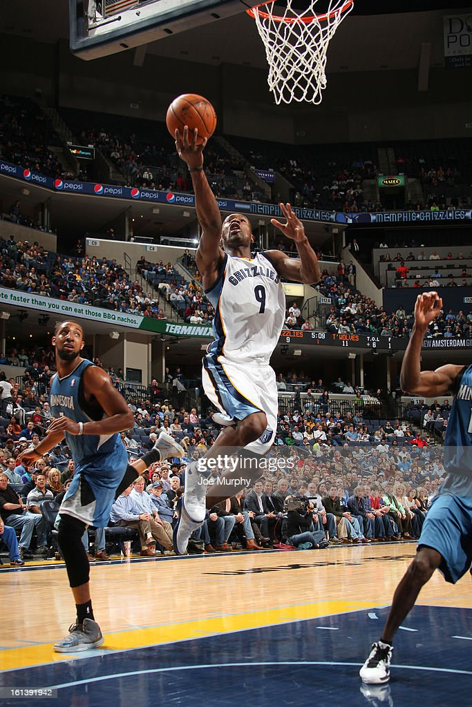 Tony Allen #9 of the Memphis Grizzlies shoots a layup against the Minnesota Timberwolves on February 10, 2013 at FedExForum in Memphis, Tennessee.