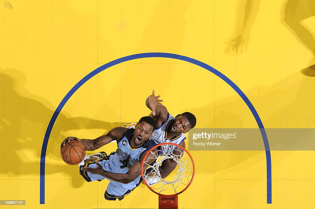 <a gi-track='captionPersonalityLinkClicked' href=/galleries/search?phrase=Tony+Allen+-+Basketball+Player&family=editorial&specificpeople=201665 ng-click='$event.stopPropagation()'>Tony Allen</a> #9 of the Memphis Grizzlies shoots against <a gi-track='captionPersonalityLinkClicked' href=/galleries/search?phrase=Festus+Ezeli&family=editorial&specificpeople=5725219 ng-click='$event.stopPropagation()'>Festus Ezeli</a> #31 of the Golden State Warriors on January 9, 2013 at Oracle Arena in Oakland, California.