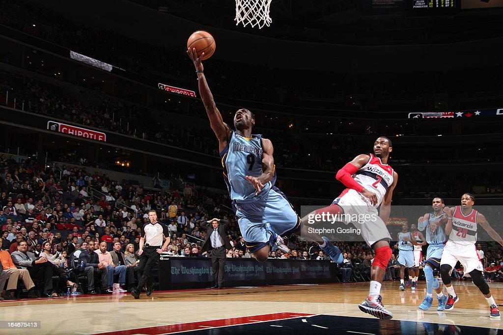 <a gi-track='captionPersonalityLinkClicked' href=/galleries/search?phrase=Tony+Allen+-+Basketball+Player&family=editorial&specificpeople=201665 ng-click='$event.stopPropagation()'>Tony Allen</a> #9 of the Memphis Grizzlies shoots against <a gi-track='captionPersonalityLinkClicked' href=/galleries/search?phrase=John+Wall&family=editorial&specificpeople=2265812 ng-click='$event.stopPropagation()'>John Wall</a> #2 of the Washington Wizards at the Verizon Center on March 25, 2013 in Washington, DC.
