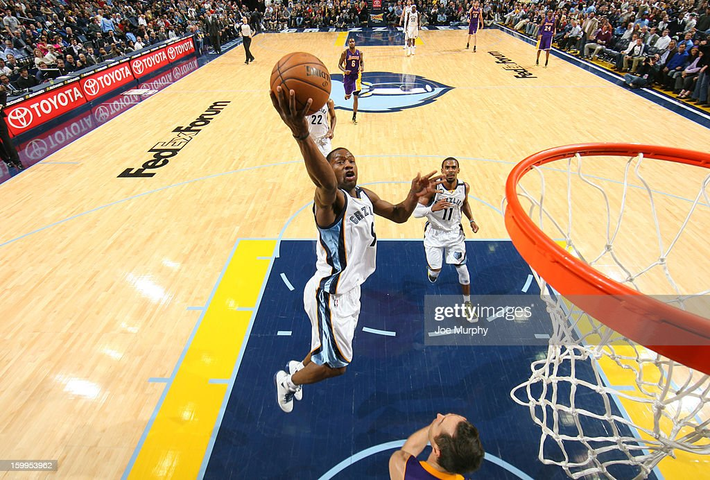 <a gi-track='captionPersonalityLinkClicked' href=/galleries/search?phrase=Tony+Allen+-+Basketball+Player&family=editorial&specificpeople=201665 ng-click='$event.stopPropagation()'>Tony Allen</a> #9 of the Memphis Grizzlies shoots against the Los Angeles Lakers on January 23, 2013 at FedExForum in Memphis, Tennessee.