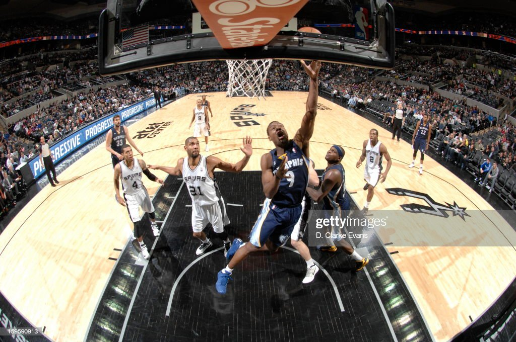 <a gi-track='captionPersonalityLinkClicked' href=/galleries/search?phrase=Tony+Allen+-+Basketball+Player&family=editorial&specificpeople=201665 ng-click='$event.stopPropagation()'>Tony Allen</a> #9 of the Memphis Grizzlies shoots against the San Antonio Spurs on January 16, 2013 at the AT&T Center in San Antonio, Texas.