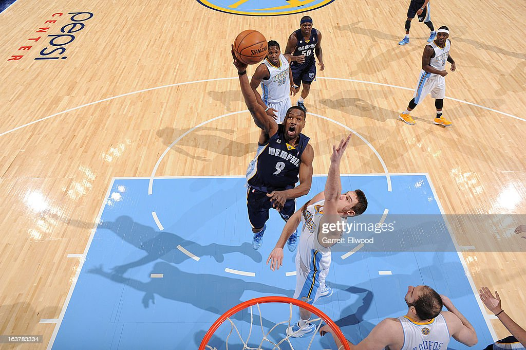 <a gi-track='captionPersonalityLinkClicked' href=/galleries/search?phrase=Tony+Allen+-+Basketball+Player&family=editorial&specificpeople=201665 ng-click='$event.stopPropagation()'>Tony Allen</a> #9 of the Memphis Grizzlies shoots in the lane against <a gi-track='captionPersonalityLinkClicked' href=/galleries/search?phrase=Danilo+Gallinari&family=editorial&specificpeople=4644476 ng-click='$event.stopPropagation()'>Danilo Gallinari</a> #8 of the Denver Nuggets on March 15, 2013 at the Pepsi Center in Denver, Colorado.