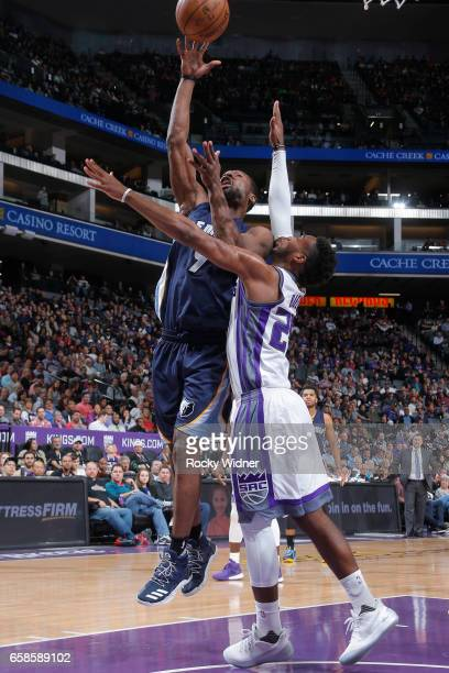 Tony Allen of the Memphis Grizzlies shoots the ball during a game against the Sacramento Kings on March 27 2017 at Golden 1 Center in Sacramento...