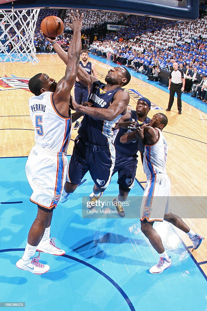 <a gi-track='captionPersonalityLinkClicked' href=/galleries/search?phrase=Tony+Allen+-+Basketball+Player&family=editorial&specificpeople=201665 ng-click='$event.stopPropagation()'>Tony Allen</a> #9 of the Memphis Grizzlies shots against <a gi-track='captionPersonalityLinkClicked' href=/galleries/search?phrase=Kendrick+Perkins&family=editorial&specificpeople=211461 ng-click='$event.stopPropagation()'>Kendrick Perkins</a> #5 of the Oklahoma City Thunder in Game Two of the Western Conference Semifinals during the 2013 NBA Playoffs on May 7, 2013 at the Chesapeake Energy Arena in Oklahoma City, Oklahoma.