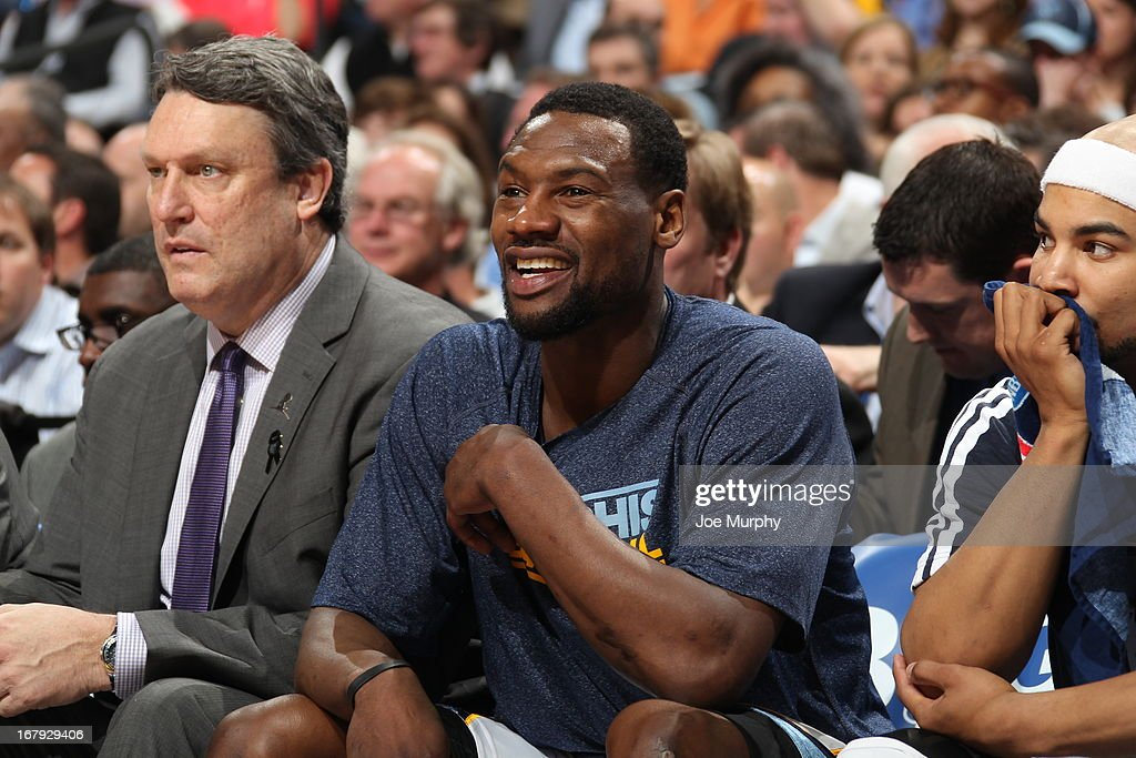 <a gi-track='captionPersonalityLinkClicked' href=/galleries/search?phrase=Tony+Allen&family=editorial&specificpeople=201665 ng-click='$event.stopPropagation()'>Tony Allen</a> #9 of the Memphis Grizzlies sits on the bench during the game against the Los Angeles Clippers in Game Three of the Western Conference Quarterfinals during the 2013 NBA Playoffs on April 25, 2013 at FedExForum in Memphis, Tennessee.