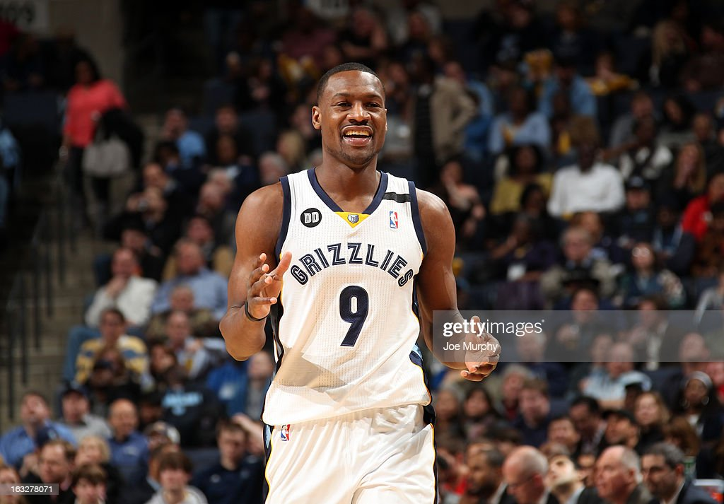 Tony Allen #9 of the Memphis Grizzlies smiles during a game against the Portland Trail Blazers on March 6, 2013 at FedExForum in Memphis, Tennessee.