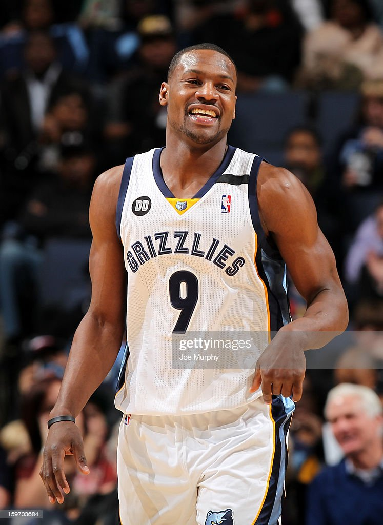 <a gi-track='captionPersonalityLinkClicked' href=/galleries/search?phrase=Tony+Allen+-+Basketball+Player&family=editorial&specificpeople=201665 ng-click='$event.stopPropagation()'>Tony Allen</a> #9 of the Memphis Grizzlies smiles in a game against the Sacramento Kings on January 18, 2013 at FedExForum in Memphis, Tennessee.