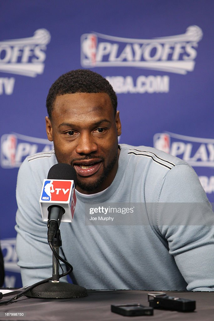 <a gi-track='captionPersonalityLinkClicked' href=/galleries/search?phrase=Tony+Allen+-+Basketball+Player&family=editorial&specificpeople=201665 ng-click='$event.stopPropagation()'>Tony Allen</a> #9 of the Memphis Grizzlies speaks at a press conference following his team's series victory against the Los Angeles Clippers in Game Six of the Western Conference Quarterfinals during the 2013 NBA Playoffs on May 3, 2013 at FedExForum in Memphis, Tennessee.