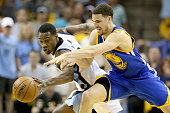 Tony Allen of the Memphis Grizzlies steals the ball away from Klay Thompson of the Golden State Warriors during Game three of the Western Conference...