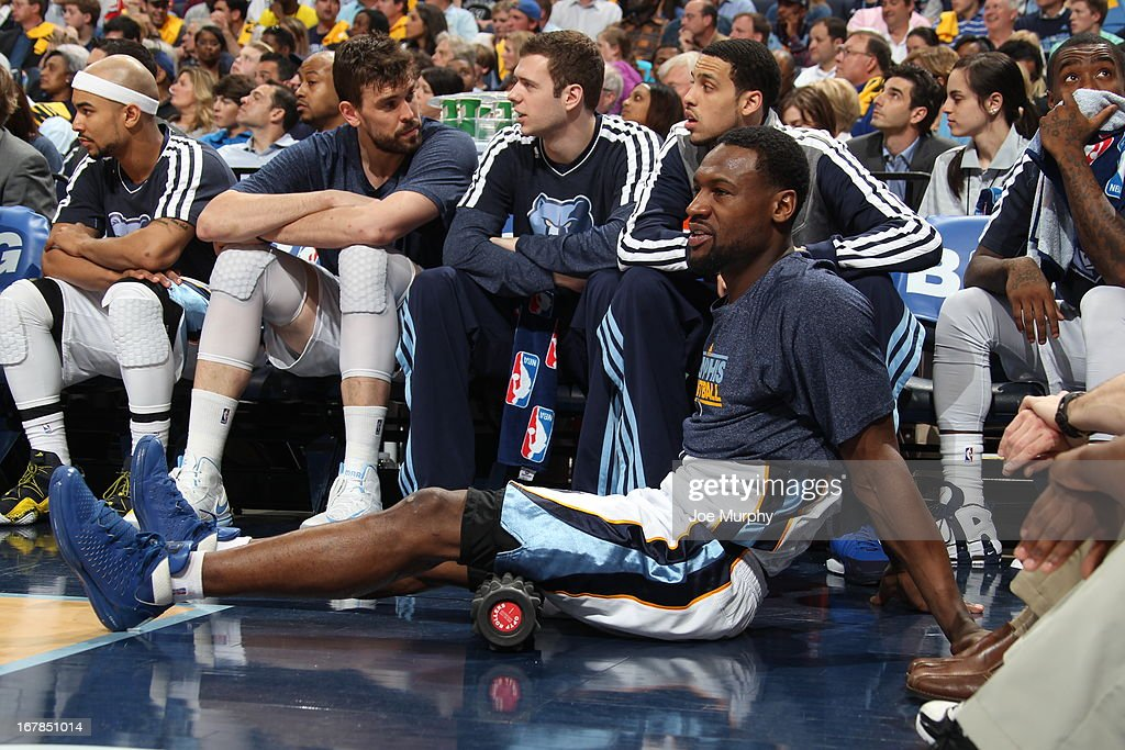 <a gi-track='captionPersonalityLinkClicked' href=/galleries/search?phrase=Tony+Allen+-+Basketball+Player&family=editorial&specificpeople=201665 ng-click='$event.stopPropagation()'>Tony Allen</a> #9 of the Memphis Grizzlies stretches during the game against the Los Angeles Clippers in Game Four of the Western Conference Quarterfinals during the 2013 NBA Playoffs on April 27, 2013 at FedExForum in Memphis, Tennessee.