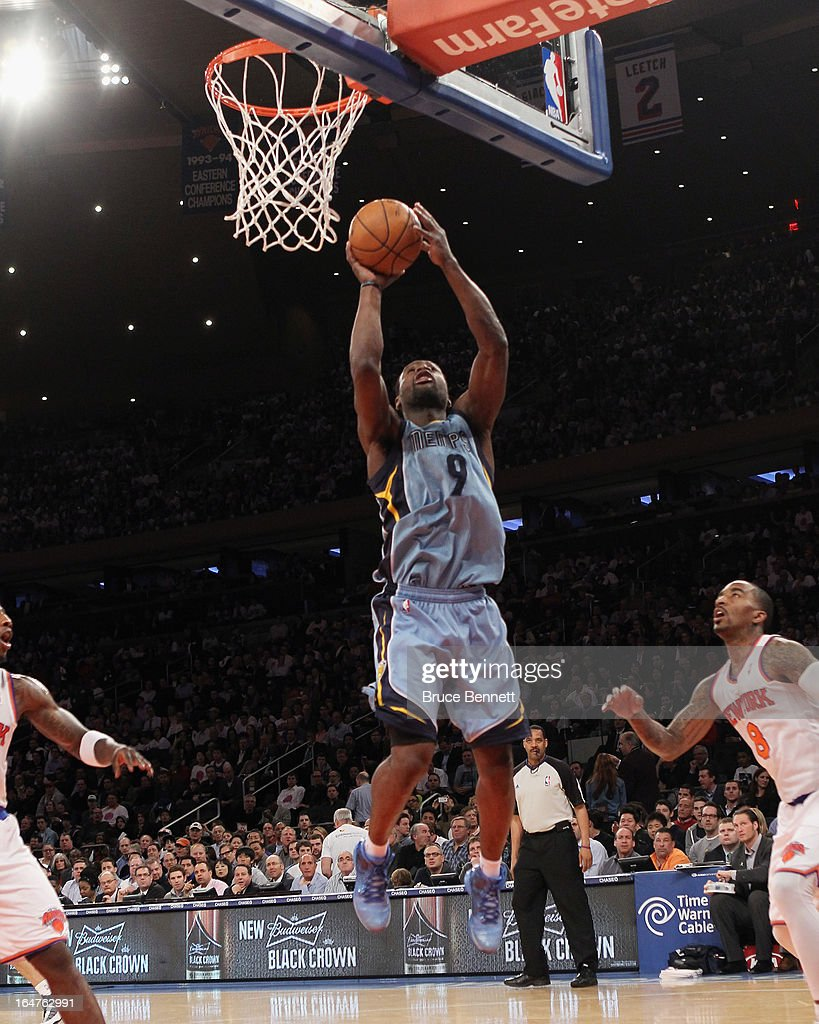 Tony Allen #9 of the Memphis Grizzlies takes the shot against the New York Knicks at Madison Square Garden on March 27, 2013 in New York City. The Knicks defeated the Grizzlies 108-101.