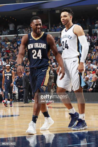 Tony Allen of the New Orleans Pelicans and Dillon Brooks of the Memphis Grizzlies react during the 201718 regular season game on October 18 2017 at...