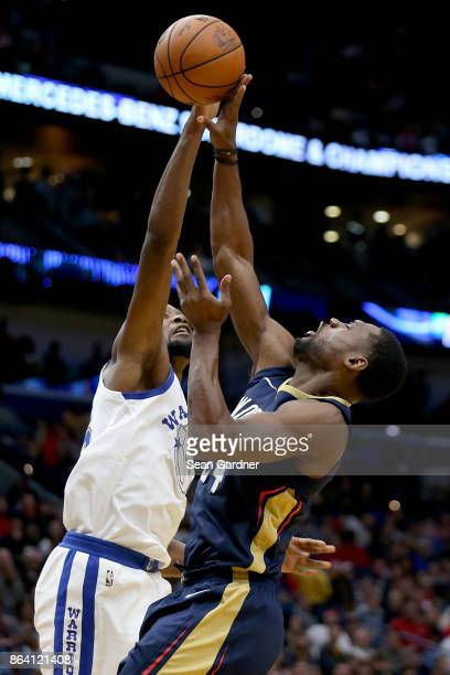 Tony Allen of the New Orleans Pelicans is blocked by Kevin Durant of the Golden State Warriors during the first half at Smoothie King Center on...