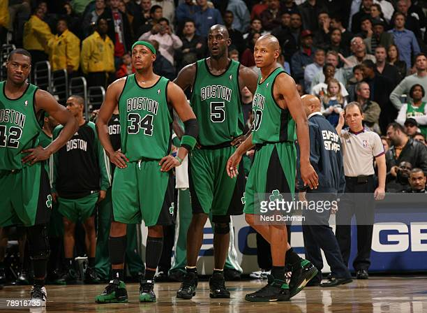 Tony Allen Paul Pierce Kevin Garnett and Ray Allen of the Boston Celtics look on during the game against the Washington Wizards at the Verizon Center...