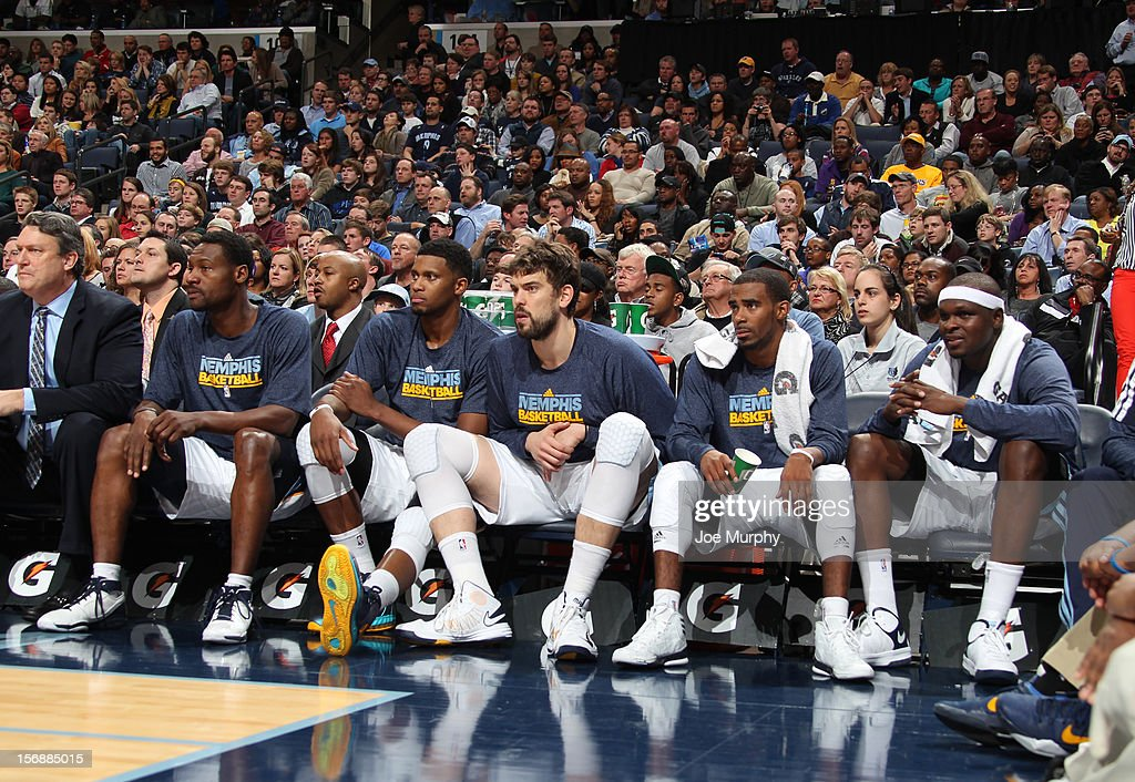 Tony Allen #9, Rudy Gay #22, Marc Gasol #33, Mike Conley #11, and Zach Randolph #50 of the Memphis Grizzlies sit on the bench during a game against the Los Angeles Lakers on November 23, 2012 at FedExForum in Memphis, Tennessee.