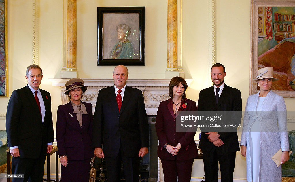Tony and Cherie Blair welcome King Harald of Norway, Queen Sonja, Crown Prince Haakon and Crown Princess Mette-Marit, who is eight months pregnant, at 10 Downing Street on October 25, 2005 in London, England. The visit is to mark 100 years of Norway's independence from Sweden.