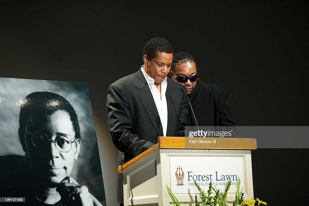 Tony and Raymond Cornelius pay tribute to their father Don Cornelius at the Memorial Service on February 16, 2012 in Los Angeles, California.