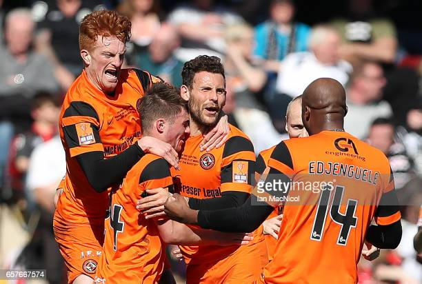 Tony Andreu of Dundee United celebrates after scoring during the IrnBru Cup Final between Dundee United and St Mirren at Fir Park on March 25 2017 in...