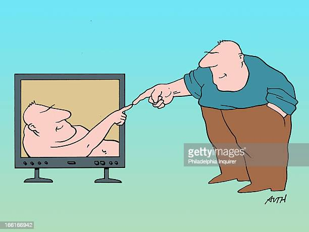 Tony Auth illustration of man touching fingertips with another man on a TV monitor a la Michelangelo's Sistine Chapel painting can be used with...