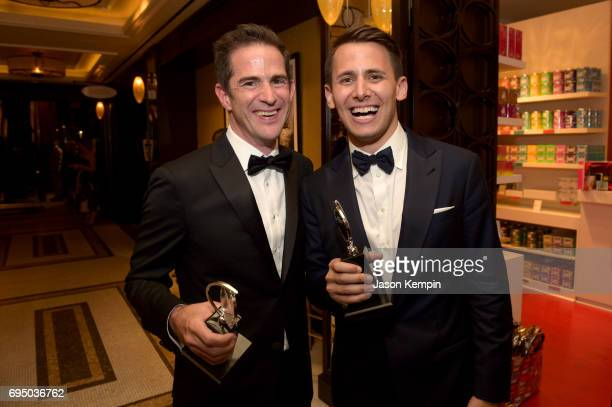 Tony Award Winners Andy Blankenbuehler and Benj Pasek attend the 2017 Tony Awards Gala at The Plaza Hotel on June 11 2017 in New York City