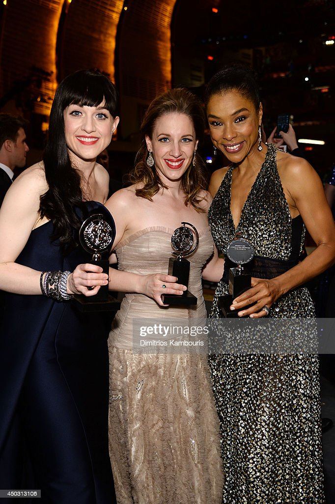 Tony award winners Lena Hall, Jessie Mueller and Sophie Okonedo pose backstage at the 68th Annual Tony Awards at Radio City Music Hall on June 8, 2014 in New York City.